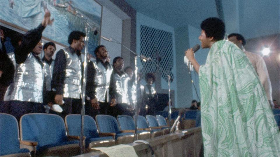"Aretha Franklin recording gospel album ""Amazing Grace"" in 1972, as seen in documentary film ""Amazing Grace."""