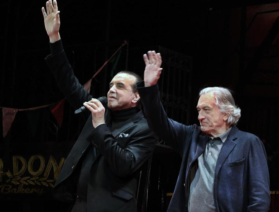 4-10-2019 Boston, Mass. Actor Chazz Palminteri and Academy Award-winner Robert DeNiro made a surprise appearence at A Bronx Tale The Musical curtain call at the Citizen Bank Opera House. Photo by Bill Brett for the Boston Globe
