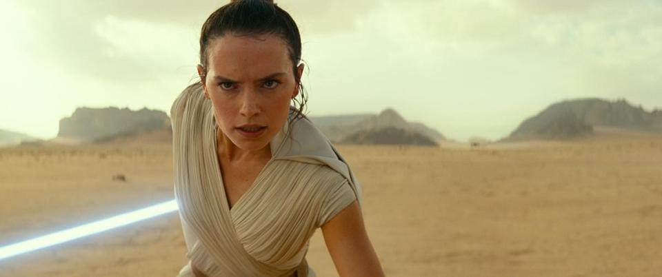 "Daisy Ridley as Rey in ""Star Wars: The Rise of Skywalker."""