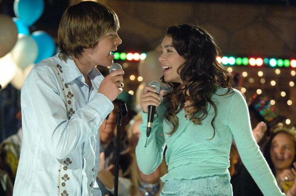 "Zac Efron and Vanessa Anne Hudgens in Disney's ""High School Musical."""