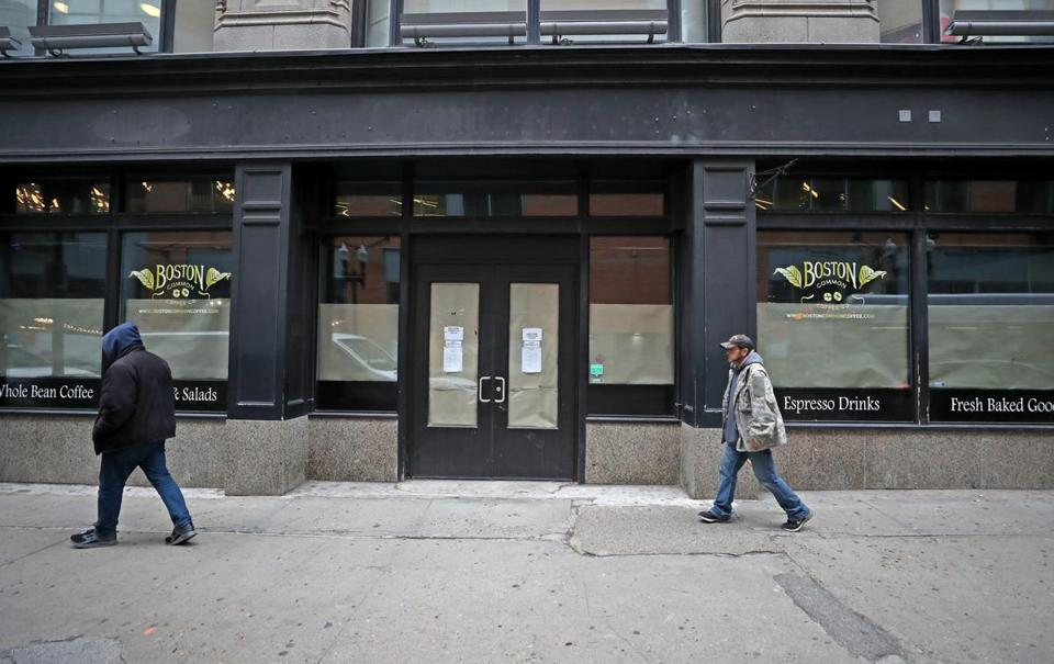 BOSTON, MA - 4/12/2019:An empty storefront near 560 Washington Street (Lafayette City Center) This is what it says about retail in downtown crossing. (David L Ryan/Globe Staff ) SECTION: BUSINESS TOPIC 12downtowncrossing
