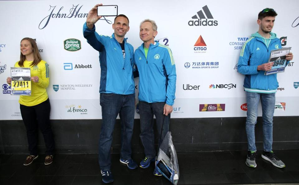 Jon Pohlkamp (left) and his father Terry Pohlkamp. Terry qualified for the Boston Marathon in 2001 but said he would not run it until he and Jon could do it together.