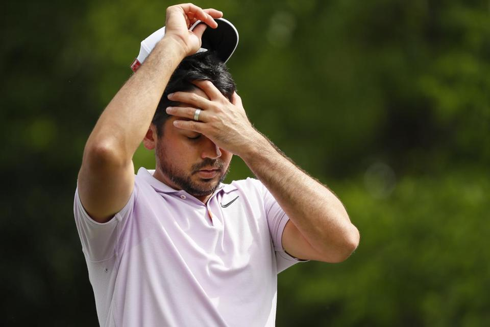 AUGUSTA, GEORGIA - APRIL 12: Jason Day of Australia reacts on the second hole during the second round of the Masters at Augusta National Golf Club on April 12, 2019 in Augusta, Georgia. (Photo by Kevin C. Cox/Getty Images)