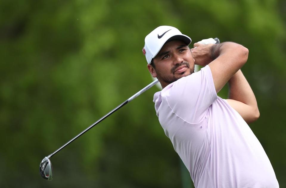 Jason Day plays his shot from the fifth tee during the second round of the Masters.