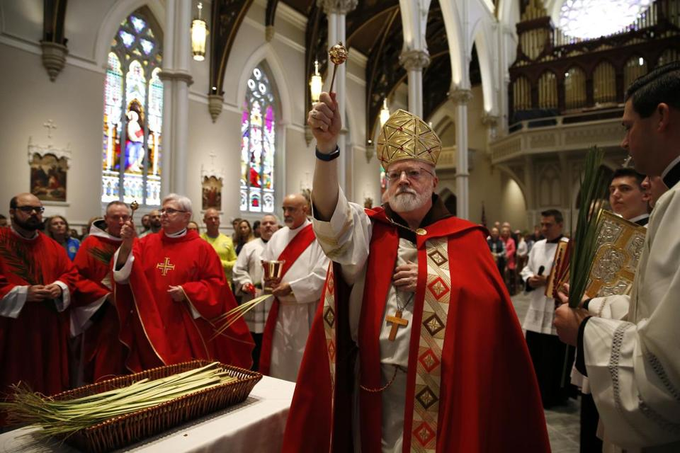 Cardinal Sean O'Malley blessed the palms during Palm Sunday Mass at the renovated Holy Cross Cathedral in the South End.