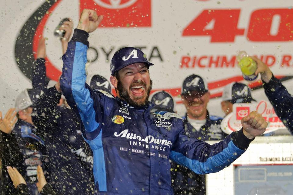 RICHMOND, VA - APRIL 13: Martin Truex Jr, driver of the #19 Auto Owners Insurance Toyota, celebrates in Victory Lane after winning the Monster Energy NASCAR Cup Series Toyota Owners 400 at Richmond Raceway on April 13, 2019 in Richmond, Virginia. (Photo by Donald Page/Getty Images)