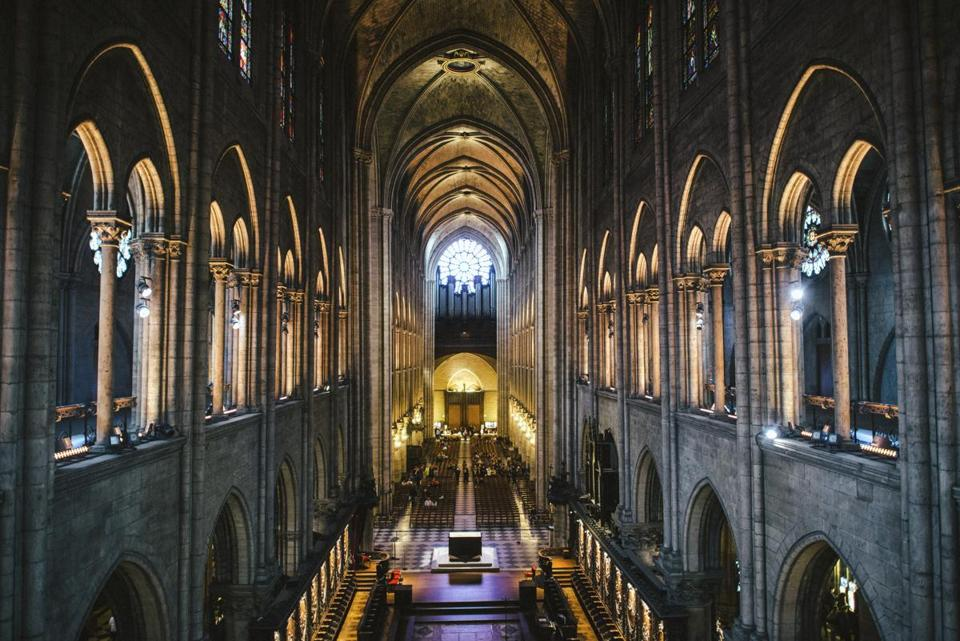 The interior of Notre Dame Cathedral in Paris, as pictured in September 2017.