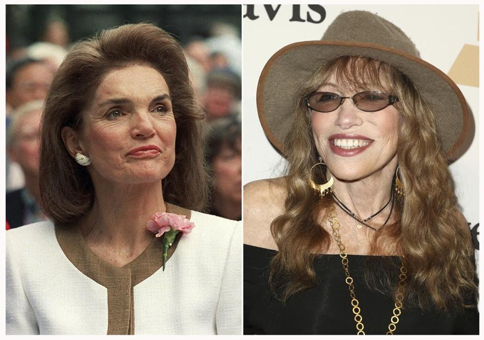"This combination of photos shows Jacqueline Kennedy Onassis in New York in 1992, left and Carly Simon at the 2016 Clive Davis Pre-Grammy Gala in Beverly Hills, Calif., on Feb. 14, 2016. Simon is writing a memoir about Kennedy Onassis. Farrar, Straus and Giroux announced Monday, April 15, 2019, that Simon's ""Touched by the Sun"" is scheduled for Oct. 22. According to the publisher, the two met at a summer party on Martha's Vineyard and began an ""improbable, but lasting friendship."" (AP Photo)"