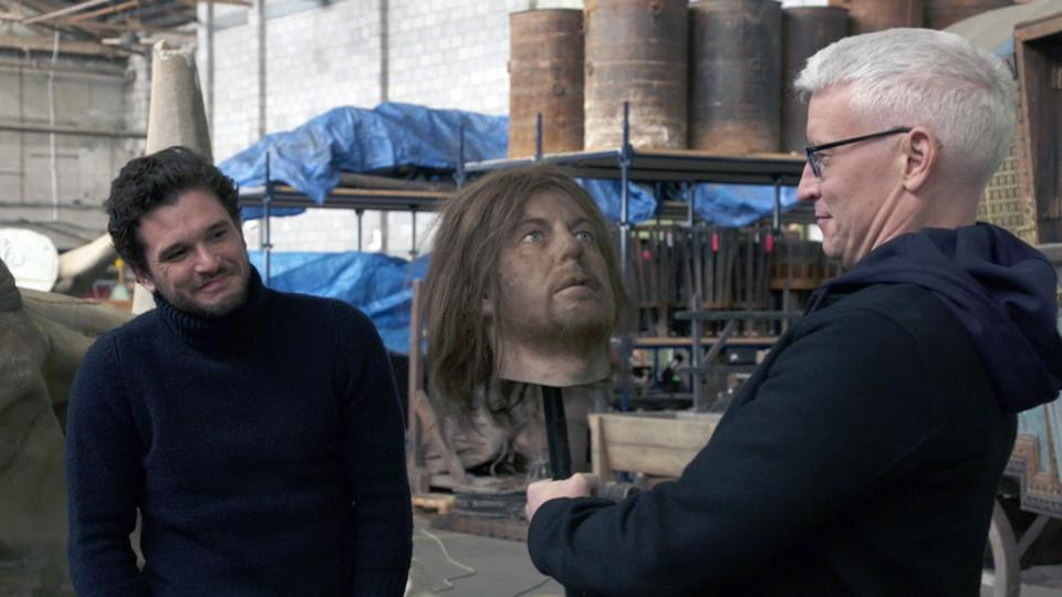 "Kit Harrington with Anderson Cooper on ""60 Minutes."""