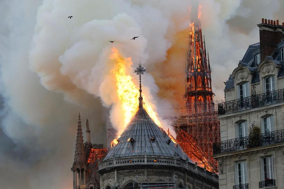 Flames and smoke billowed from Notre Dame Cathedral on Monday. Two-thirds of the roof of the centuries-old edifice was destroyed.