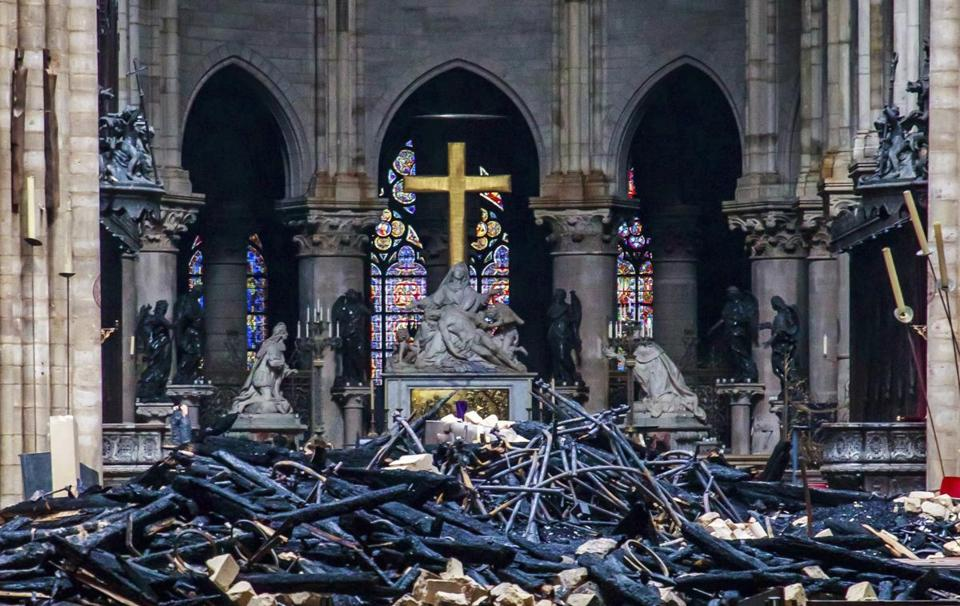 Debris inside Notre Dame Cathedral in Paris.