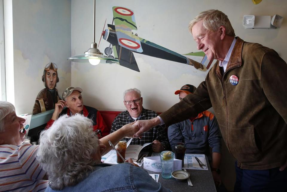 Manchester, NH, 04/16/2019 -- Governor Bill Weld greets voters during a campaign stop at the Airport Diner. Weld announced his candidacy to run for President of the United States of America in the Republican Primary. (Jessica Rinaldi/Globe Staff) Topic: 17weld Reporter:
