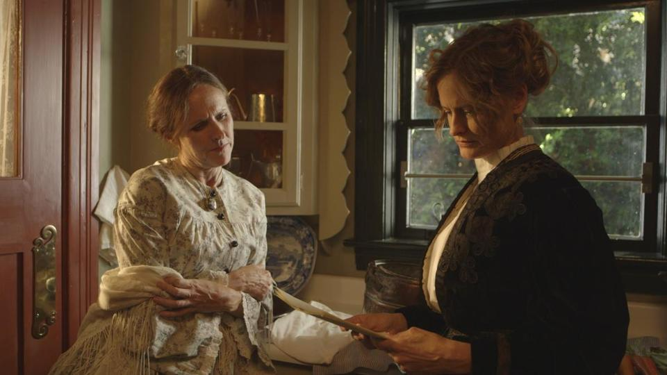 "Molly Shannon (left) portrays Emily Dickinson and Susan Ziegler is Susan Gilbert Dickinson in ""Wild Nights With Emily."""