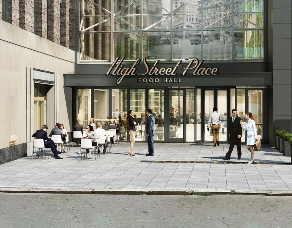 An artist's sketch shows the entrance to the planned High Street Place food hall, which is slated to open this fall with 20,000 square feet of dining options.