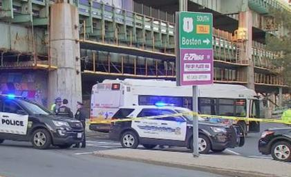 The scene of a fatal MBTA bus accident in Chelsea near the Everett Avenue on-ramp to Route 1 South near the Tobin Bridge. The Route 111 bus hit a 60-year-old female pedestrian. (Boston 25 News) 19tobin