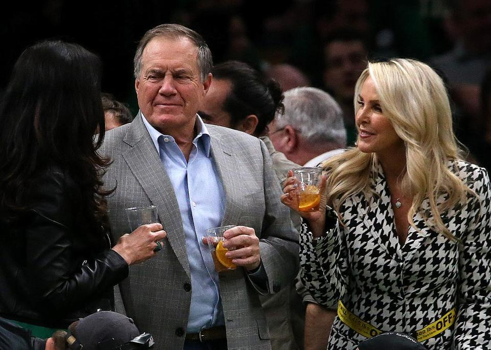 Boston, MA - 4/17/2019 - (2nd quarter) New England Patriots head coach Bill Belichick and his girlfriend Linda Holliday attended the game. The Boston Celtics host the Indiana Pacers in Game 2 of Round 1 of the Eastern Conference Playoffs at TD Garden. - (Barry Chin/Globe Staff), Section: Sports, Reporter: Adam Himmelsbach, Topic: 18Celtics-Pacers, LOID: 8.5.1015682352.