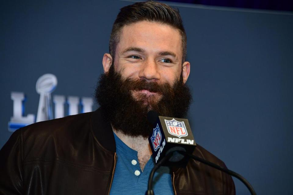 ATLANTA, GA - FEBRUARY 4: Julian Edelman of the New England Patriots is interviewed at a press conference naming him MVP of Super Bowl LIII on February 4, 2019 at the Georgia World Congress Center in Atlanta, Georgia. (Photo by Scott Cunningham/Getty Images)