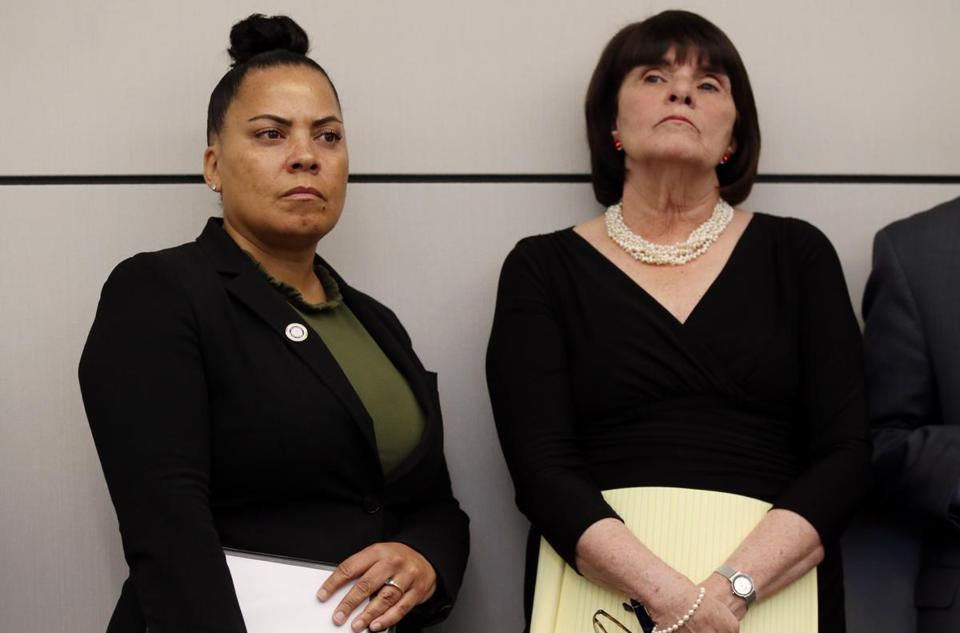 Suffolk District Attorney Rachael Rollins (left) and Middlesex District Attorney Marian Ryan have joined a lawsuit saying that ICE agents have been using Massachusetts courthouses to trap and arrest undocumented immigrants.