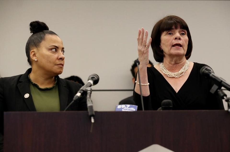 BOSTON, MA - April 29, 2019: (left to right) Suffolk County District Attorney Rachael Rollins and Middlesex County District Attorney Marian Ryan answer questions during a press conference at Goodwin Procter in Boston, MA on April 29, 2019. (Prosecutors, public defenders, and community groups will file a federal lawsuit to address U.S. Immigration and Customs Enforcement's (ICE) policy and practice of arresting people at courthouses on civil immigration matters. ICE's policy is undermining the work of the justice system as a whole. Prosecutors are forced to abandon cases because many victims and witnesses are deterred from appearing in court. The policy also makes it more difficult to obtain defendants' appearance in court.) (Craig F. Walker/Globe Staff) section: metro reporter: