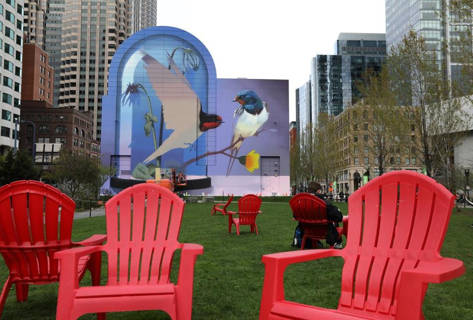 "Commissioned by the Rose Kennedy Greenway Conservancy, 38-year-old artist Stefan ""Super A"" Thelen started working on his installation in Dewey Square on Saturday. He plans to finish it early next week. The work is titled ""Resonance."""