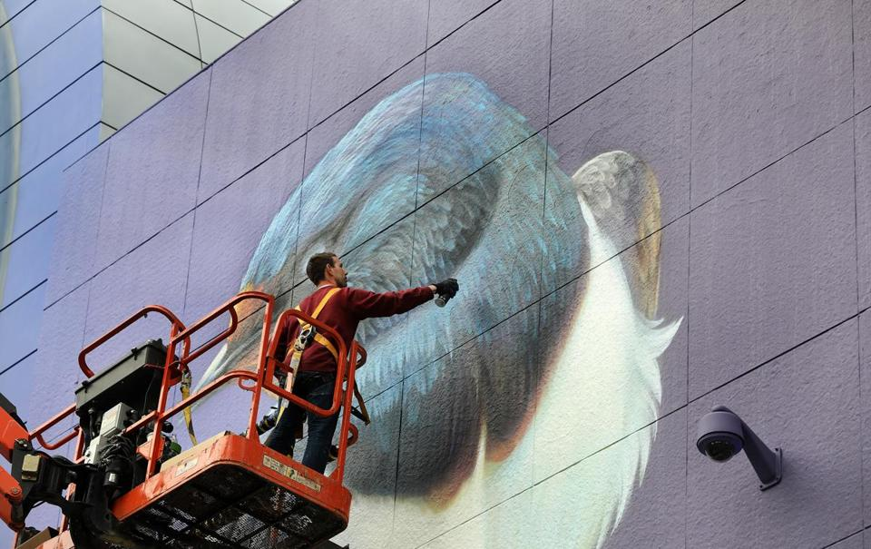 Dutch street and gallery artist Stefan Thelen worked on the mural