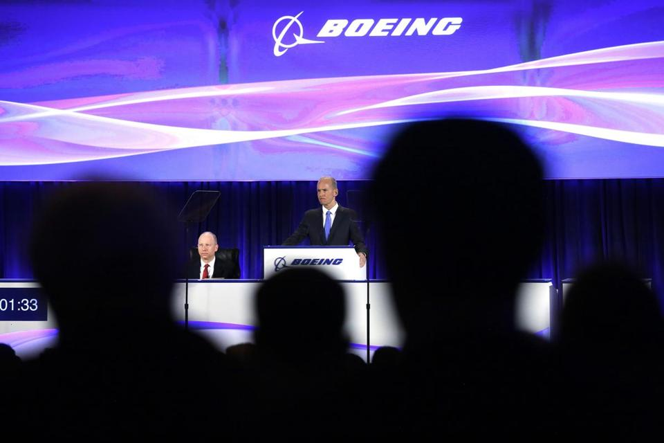 Dennis Muilenburg, Boeing's chairman, president, and CEO, at the company's shareholders meeting in Chicago.