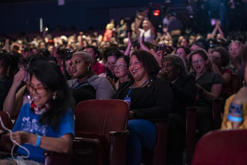 HOUSTON, TX - APRIL 24: Members of the audience laugh and cheer at a joke from Democratic presidential candidate Sen. Elizabeth Warren (D-MA) at the She The People Presidential Forum at Texas Southern University on April 24, 2019 in Houston, Texas. Many of the Democrat presidential candidates are attending the forum to focus on issues important to women of color. (Photo by Sergio Flores/Getty Images)