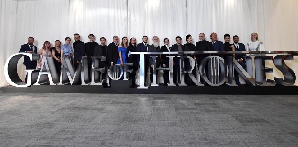 "Actors from ""Game of Thrones"" at the Season 8 screening earlier this month in Belfast."