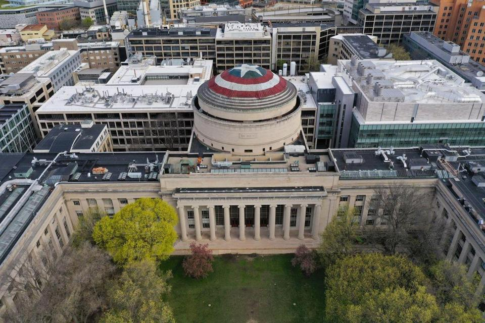 MIT's Great Dome was transformed into Captain America's shield Saturday night.