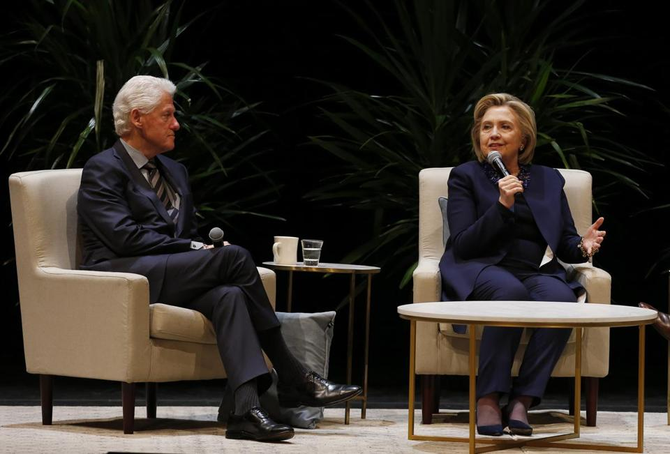 Boston, MA, 04/30/2019 -- Hillary Clinton speaks as she sits beside her husband, Former President Bill Clinton at the Boston Opera House. (Jessica Rinaldi/Globe Staff) Topic: Reporter: