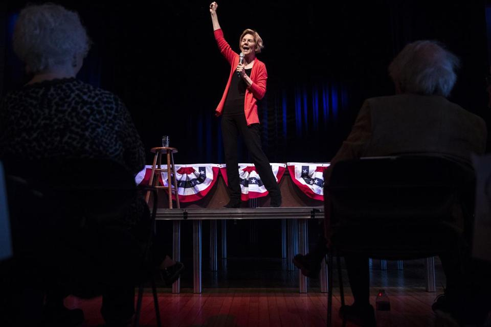 Democratic presidential candidate Sen. Elizabeth Warren, D-Mass., gives her stump speech and answers questions from the audience during a Linn Phoenix Club meet and greet on Thursday, April 25, 2019, in Cedar Rapids, Iowa. (Kelsey Kremer/The Des Moines Register via AP)
