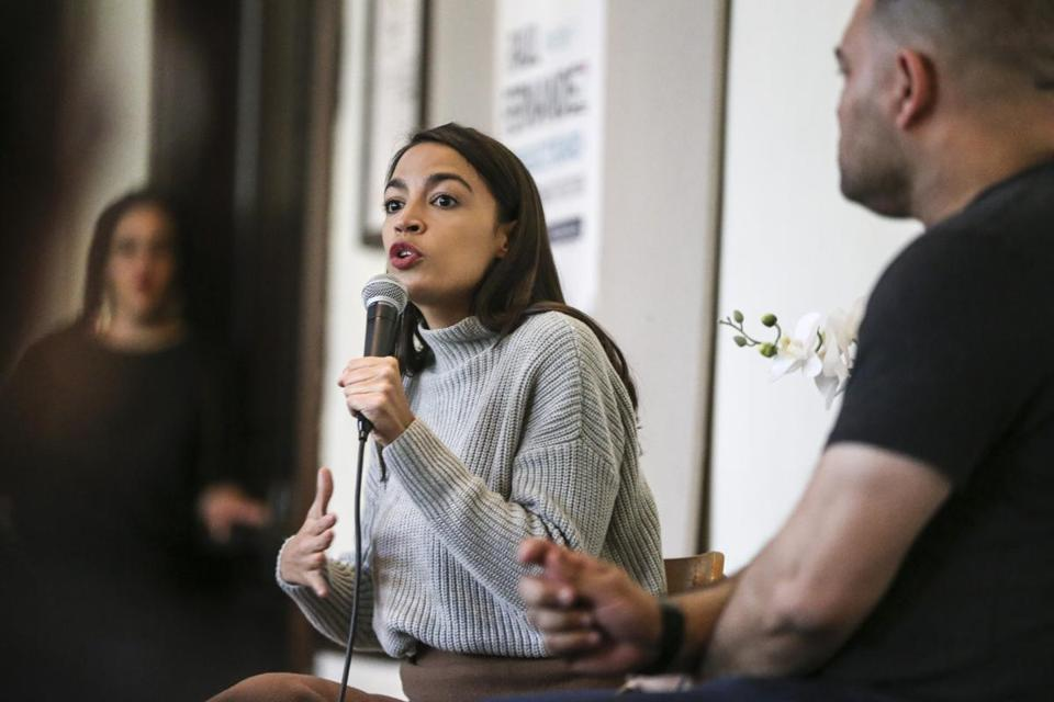 Brookline, MA--05/04/2019--Congresswoman Alexandria Ocasio-Cortez speaks during a rally for Brookline select board candidate Raul Fernandez at the First Parish Church in Brookline, MA on Saturday afternoon. (Nathan Klima for The Boston Globe) Topic: 05ocasiocortez(2) Reporter: