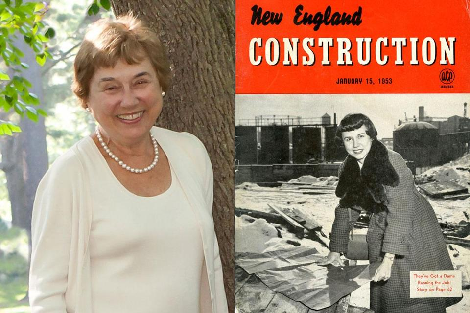 At left, Mrs. Taub when she was 80. At right, Mrs. Taub on the cover of the Jan. 15, 1953, issue of New England Construction.