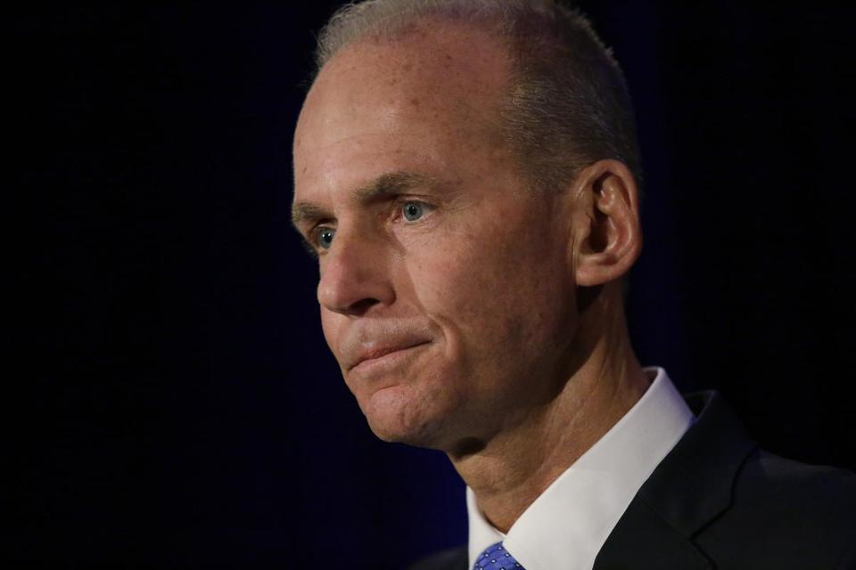 Boeing Chief Executive Dennis Muilenburg speaks at a news conference after company's annual shareholders meeting at the Field Museum in Chicago, Monday, April 29, 2019. (Joshua Lott/The Washington Post via AP, Pool)