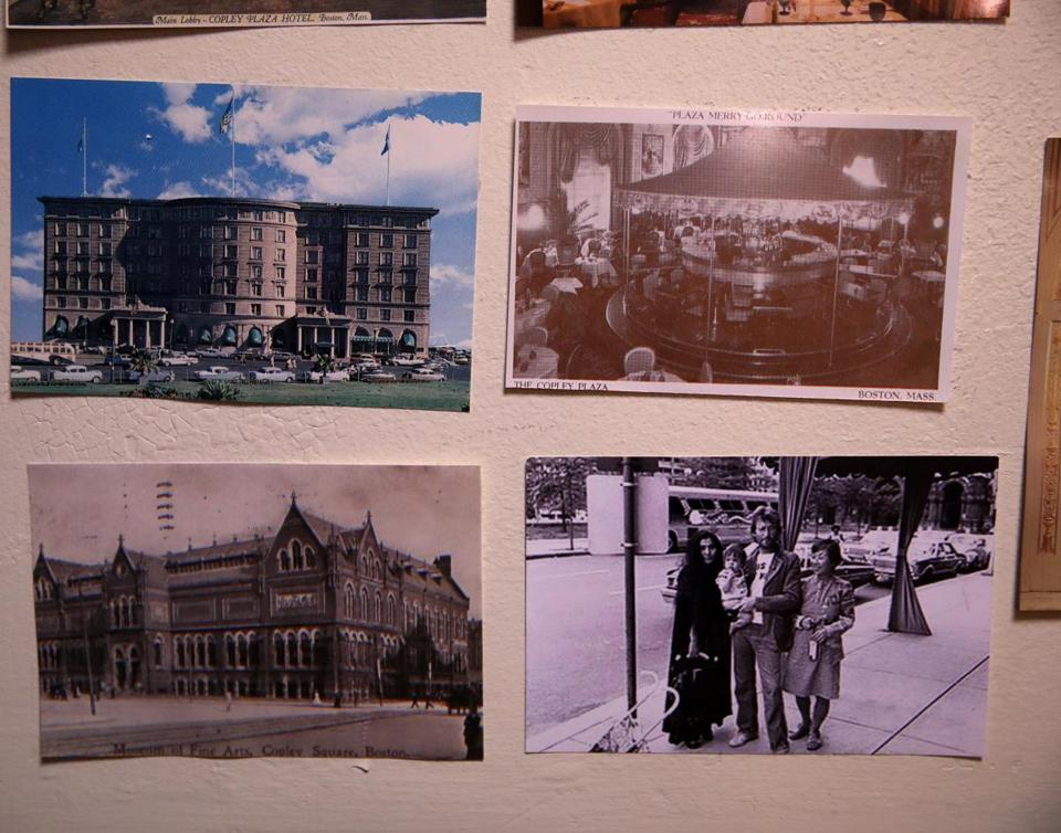 Some of Ryan's postcards depicting the hotel and Copley Square, including one of John Lennon and Yoko Ono.