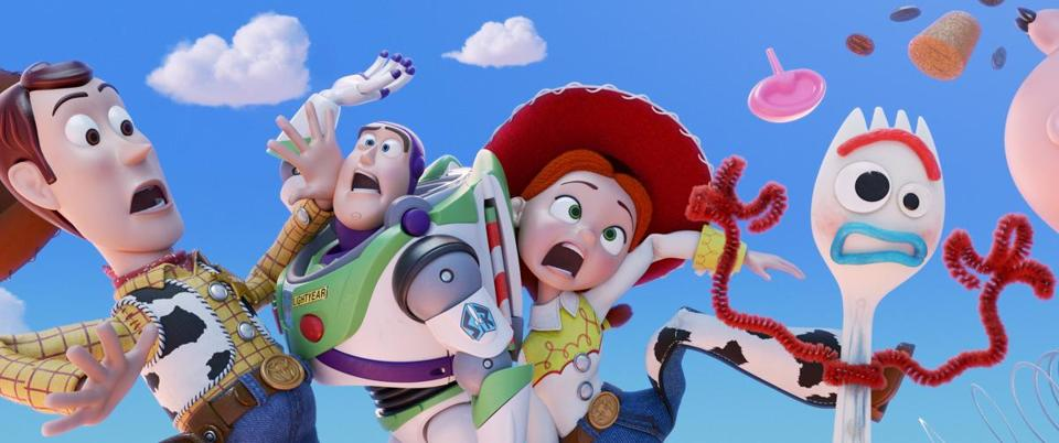 "From left: Woody (voiced by Tom Hanks), Buzz Lightyear (Tim Allen), and Jessie (Joan Cusack) return in ""Toy Story 4,"" where they meet up with Forky (Tony Hale)."
