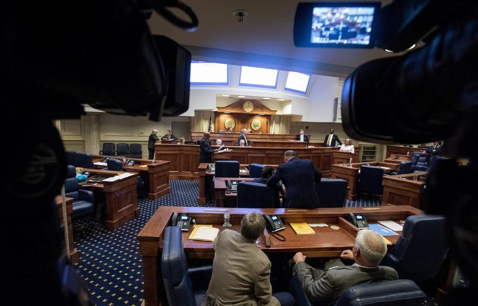 Debate is held on HB314, the near-total ban on abortion bill, in the senate chamber in the Alabama State House in Montgomery, Ala., on Tuesday May 14, 2019. (Mickey Welsh/The Montgomery Advertiser via AP)