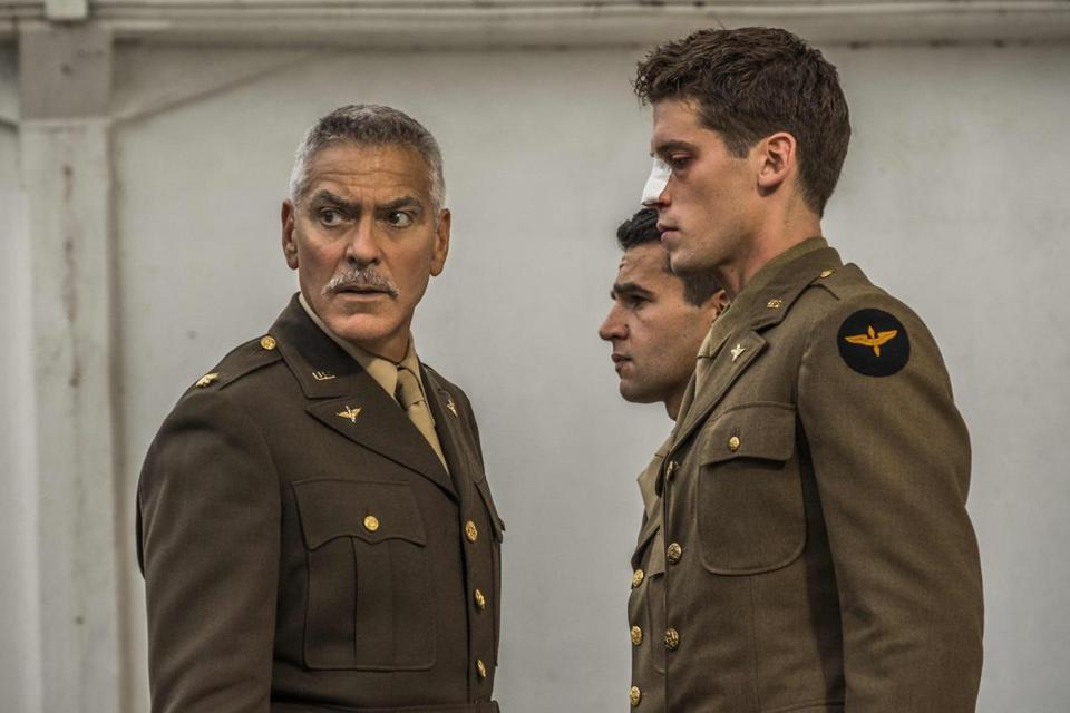 "From left: George Clooney, Christopher Abbott, and Pico Alexander in ""Catch-22."""