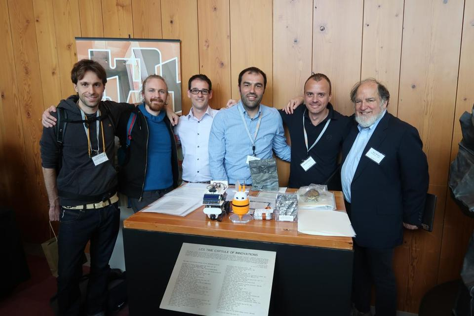 Justin Drake, Jeromy Johnson, Simon Peffers, Erdinc Ozturk, Bernard Fabrot, and Ron Rivest​ were there when the time capsule was unsealed at MIT's Stata Center in Cambridge on May 15.​