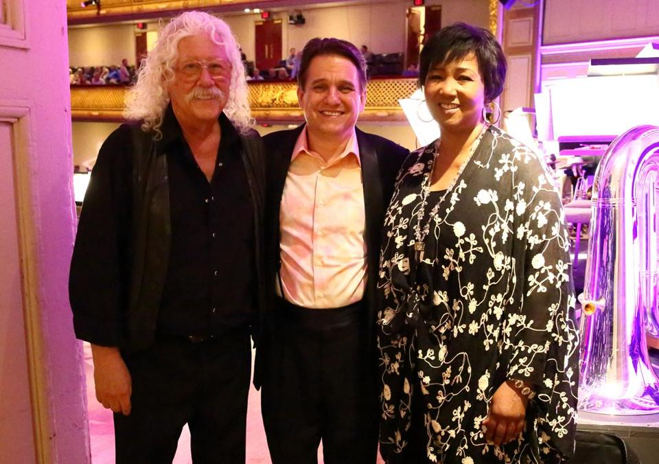 Arlo Guthrie, Keith Lockhart, and Dr. Mae Jemison at the Boston Pops' Summer of '69 concert.