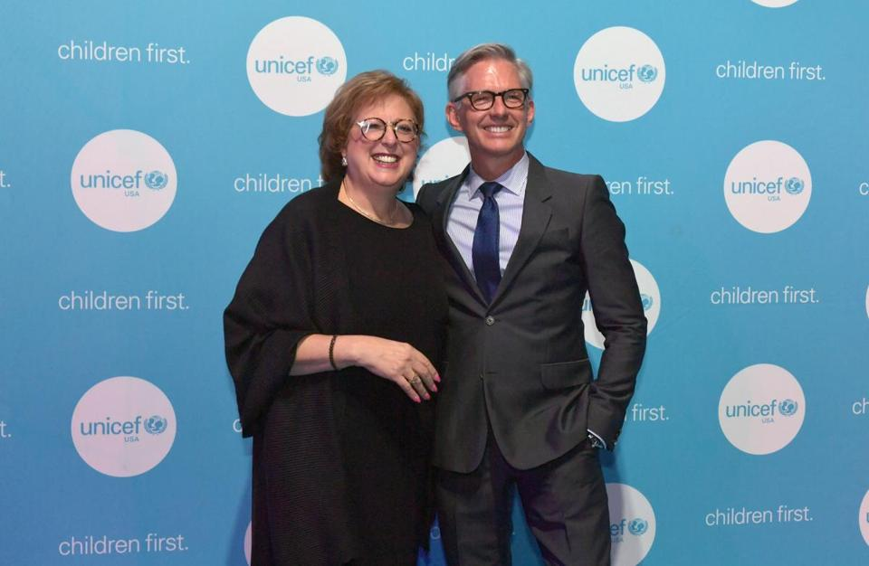 BOSTON, MASSACHUSETTS - MAY 23: Honoree, ChildrenÕs Champion Award recipient, Event Designer, New England Board Bryan Rafanelli and CEO & President, UNICEF USA Caryl M. Stern attend 15th Annual UNICEF Gala Boston 2019 at The Castle at Park Plaza on May 23, 2019 in Boston, Massachusetts. (Photo by Paul Marotta/Getty Images for UNICEF)