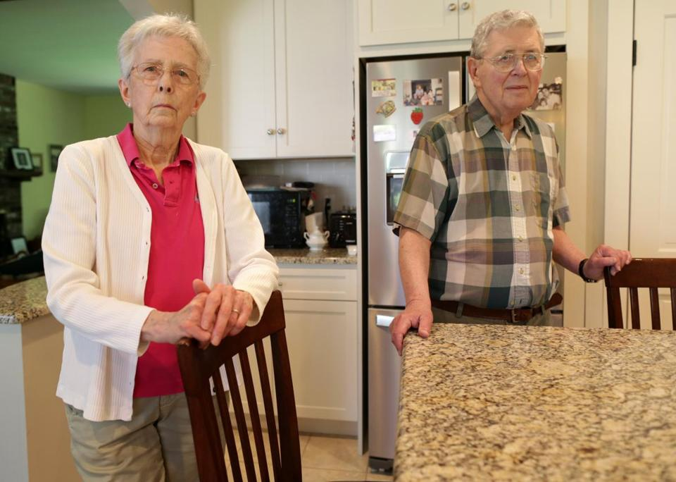 06/06/2019 Canton Ma- Fran Carleton (cq) and her husband John, paid Sears $635.00 dollars to fix their refrigerator, but one day later, it stopped working. They want a refund from Sears. They are photographed in their kitchen. They no longer have that Sears refrigerator. Jonathan Wiggs GlobeStaffReporter:Topic:Sears