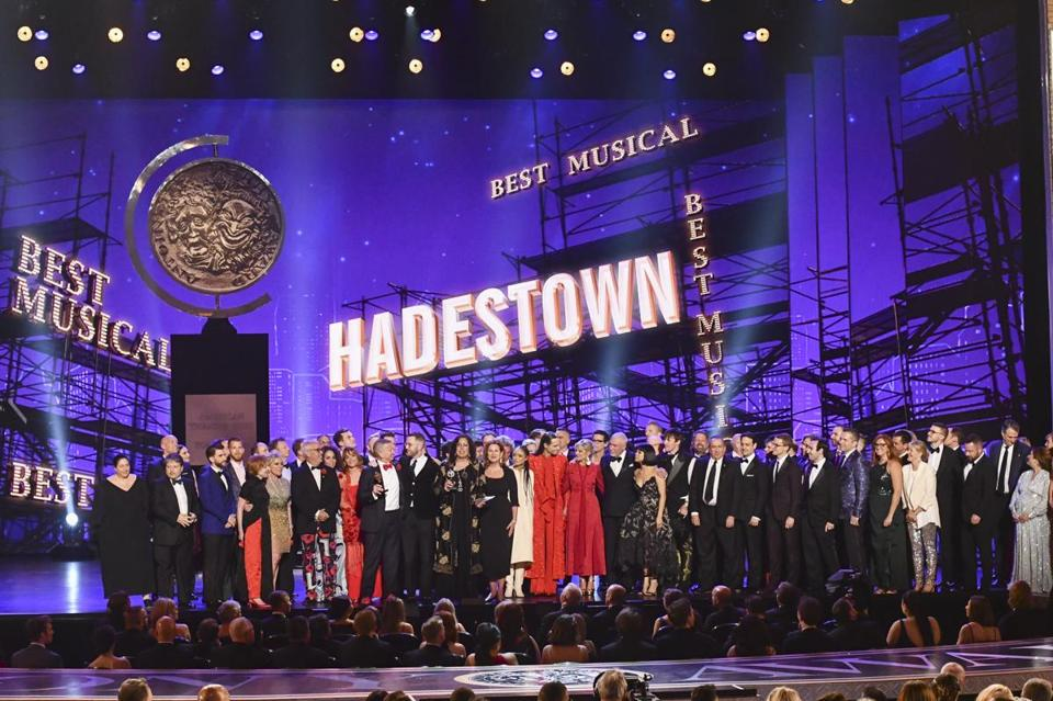 "The company of ""Hadestown,"" accepted the award for best musical at the 73rd annual Tony Awards at Radio City Music Hall on Sunday in New York."