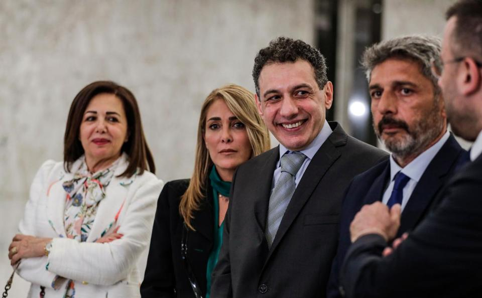 Nizar Zakka (C), a Lebanese national and US resident arrested in 2015 and sentenced to 10 years in jail on espionage charges, is seen with his brother (2nd-R), wife (2nd-L), and sister (L) during a press conference after he was freed, at the presidential palace in Baabda, east of the capital Beirut on June 11, 2019. - Zakka was arrested in September 2015 during a visit to Iran, where he was convicted the following July. He was freed by Iran on June 11, 2019. (Photo by ANWAR AMRO / AFP)ANWAR AMRO/AFP/Getty Images