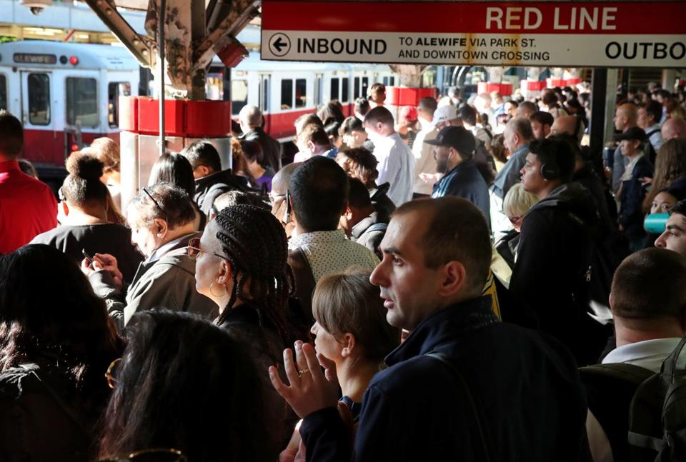 Commuters waited to board a Red Line train on the northbound platform at JFK/UMass Station in Boston Wednesday.