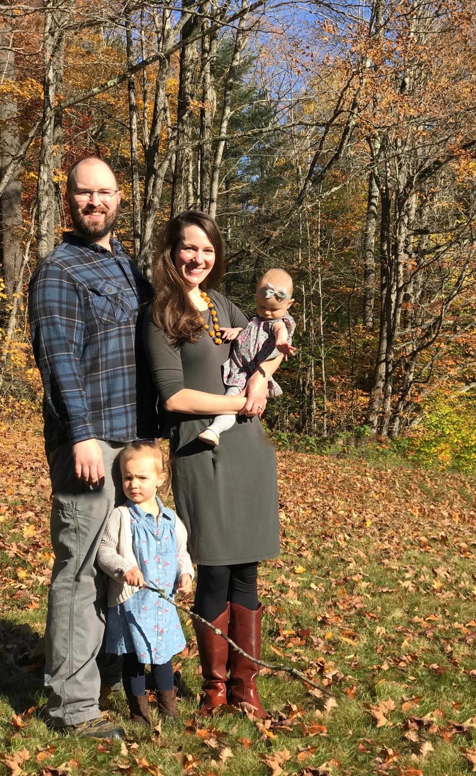The Frugalwoods — Elizabeth Willard Thames, her husband, Nate, and their two children — in Vermont.