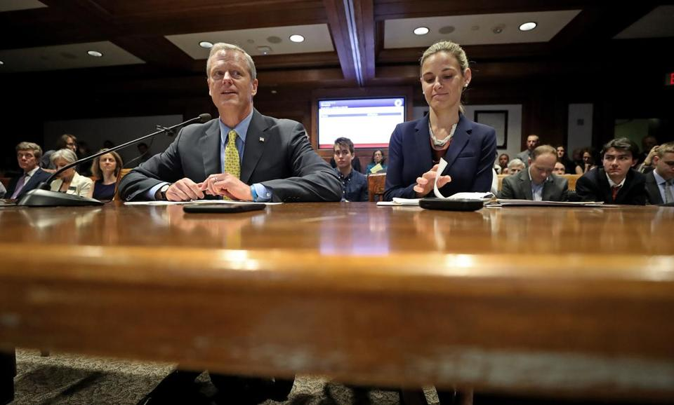 Governor Charlie Baker and Environmental Affairs Secretary Kathleen Theoharides spoke in support of the governor's bill to raise $1 billion in new revenue over the next decade to invest in climate adaption infrastructure before the Joint Committee on Revenue in the State House on Tuesday.
