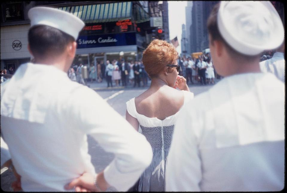 "Top: The exhibit ""Garry Winogrand: Color"" consists of some 450 slides. Above: ""Untitled (New York),"" circa 1965."