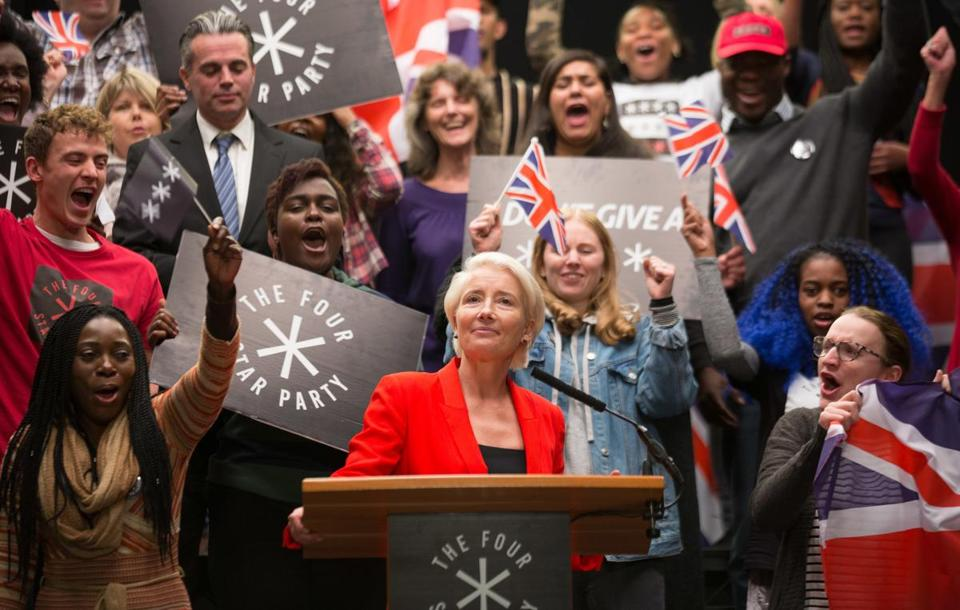"Emma Thompson plays a blustery nationalist politician on HBO's ""Years and Years,"" a despairing look at the next 15 years."