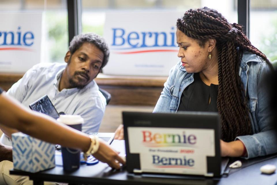 Jessica Bright, South Carolina state director for the 2020 Bernie Sanders presidential campaign, participated in a conference call with Ernest Boston Jr. at their campaign offices Wednesday in Columbia, S.C.